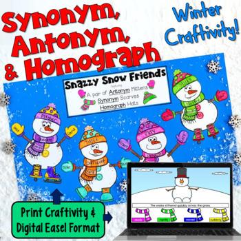 Synonym, Antonym, Homograph Craftivity for Winter