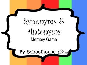 Synonym & Antonym Matching Game Cards + 3 Mini Assessments