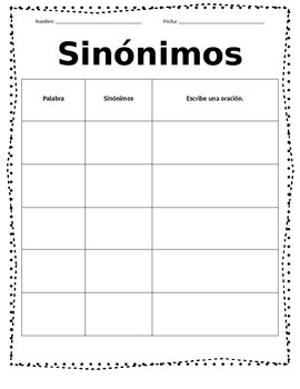 Synonym Antonym Spanish Quick Center