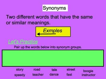 Synonym Antonym Team Board Practice