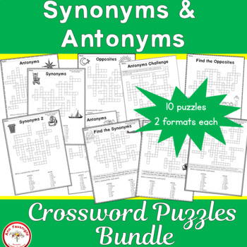 Synonyms and Antonyms Crossword Puzzles