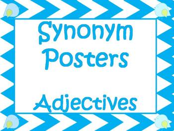 Synonym Posters For Overused Adjectives:  Blue Chevron