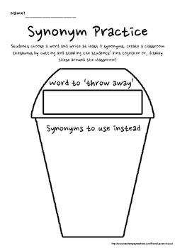 Synonym Word Bin Thesaurus/Wall Display