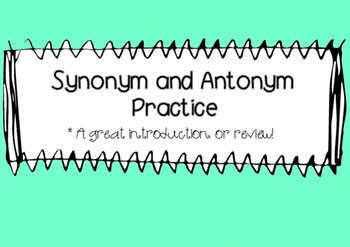 Synonym and Antonym Match for the SmartBoard