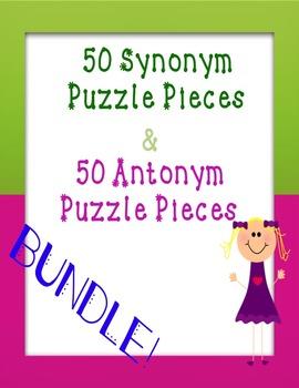 Synonym and Antonym Puzzle Piece Game **BUNDLE**