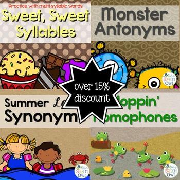 Synonyms, Antonym, Homophone, Syllables Bundle