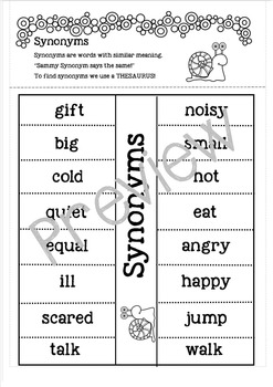 Synonyms Lift the Flap for Interactive Notebook.