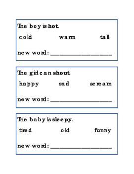 Synonyms Reading Writing Journal Supplement Literacy Follo