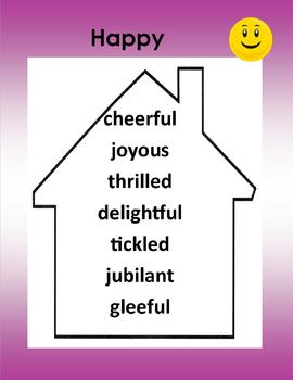 Synonyms - Words to Live By -5 Posters Purple (happy, bad,