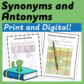 Synonyms and Antonyms Interactive Notebook and Printable A