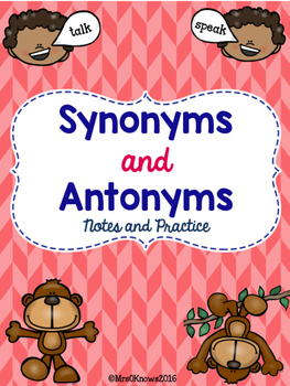 Synonyms and Antonyms Notes and Practice