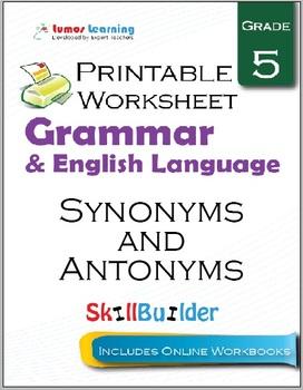 Synonyms and Antonyms Printable Worksheet, Grade 5