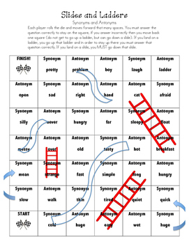 Synonyms and Antonyms Slides and Ladders Game