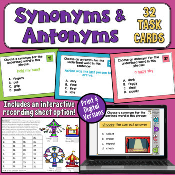 Synonyms and Antonyms Task Cards (Basic)