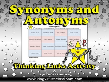 Synonyms and Antonyms Thinking Links Activity #4 - King Vi