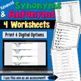 Synonyms and Antonyms Worksheets (Advanced)