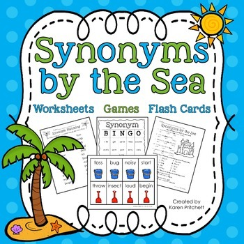 Synonyms by the Sea packet: worksheets, games, and flashcards