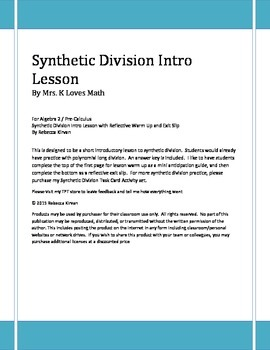Synthetic Division Intro Lesson