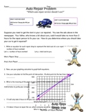 System of Equations Auto Repair Problem