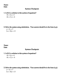 Systems Checkpoint - Substitution