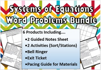 Systems of Equations Word Problems Bundle