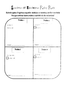 Systems of Equation Relay Race