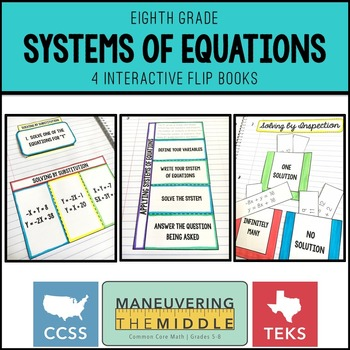 Systems of Equations 8th Grade: Supplemental Flip Books