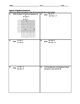 Systems of Equations Assessment Pack