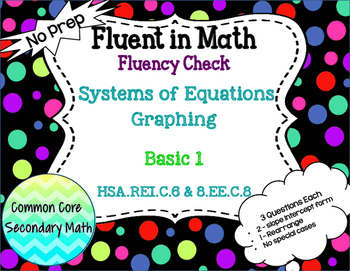 Systems of Equations Graphing Basic 1 : No Prep Fluent in