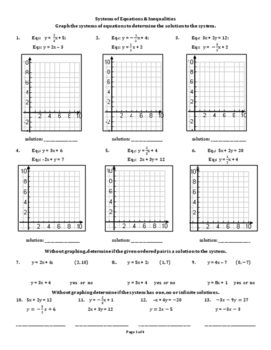 Systems of Equations & Inqualities