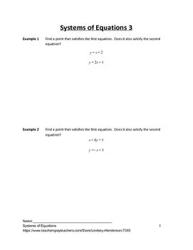 Systems of Equations Lesson 3 of 11