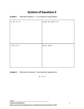 Systems of Equations Lesson 4 of 11