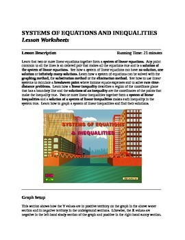 Systems of Equations Lesson and Story Problem Worksheets