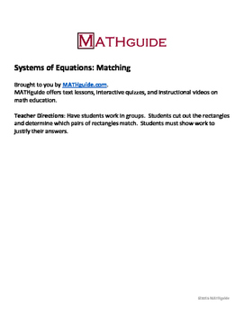 Systems of Equations: Matching
