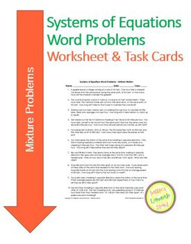 Systems of Equations - Mixture Problems - Worksheet Assess