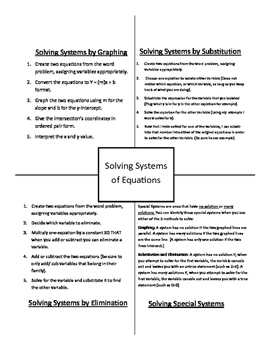 Systems of Equations Notebook Organizers