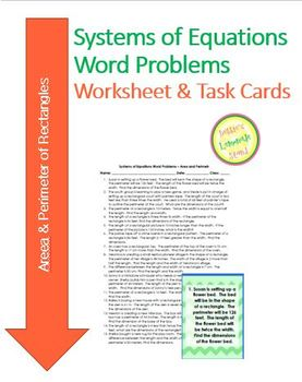 Systems of Equations - Perimeter of Rectangle-Worksheet As