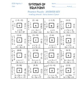 Systems of Equations Puzzle