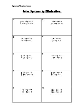 Systems of Equations Review Packet
