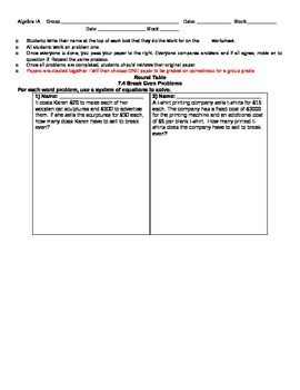 Systems of Equations Round Table Activity(Break Even word
