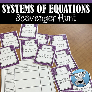 Systems of Equations Scavenger Hunt!  (Task Cards/Skill Bu