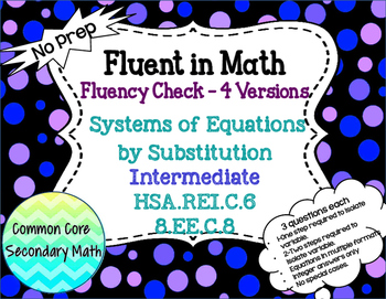 Systems of Equations Substitution Intermediate : No Prep F