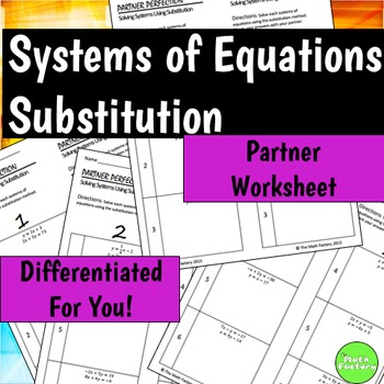 Systems of Equations Using Substitution Differentiated Sel