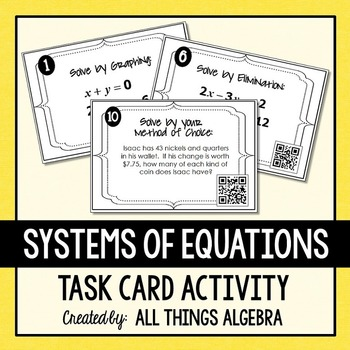 Systems of Equations Task Cards