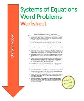 Systems of Equations - Uniform Motion - Worksheet, Assessm