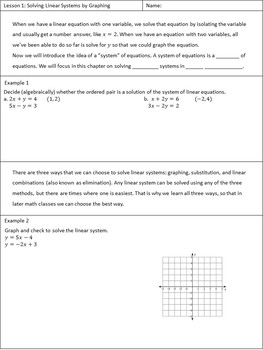 Systems of Equations Unit Student Notes for Algebra 1