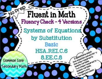 Systems of Equations by Substitution Basic : No Prep Fluen