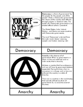 Systems of Government - Three Part Cards