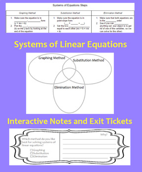 Systems of Linear Equations Interactive Notes and Exit Tickets