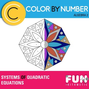 Systems of Quadratic Equations Color by Number